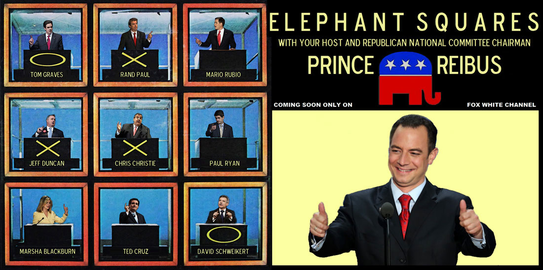 ELEPHANT SQUARES is a new political game show on the new FOX WHITE CHANNEL