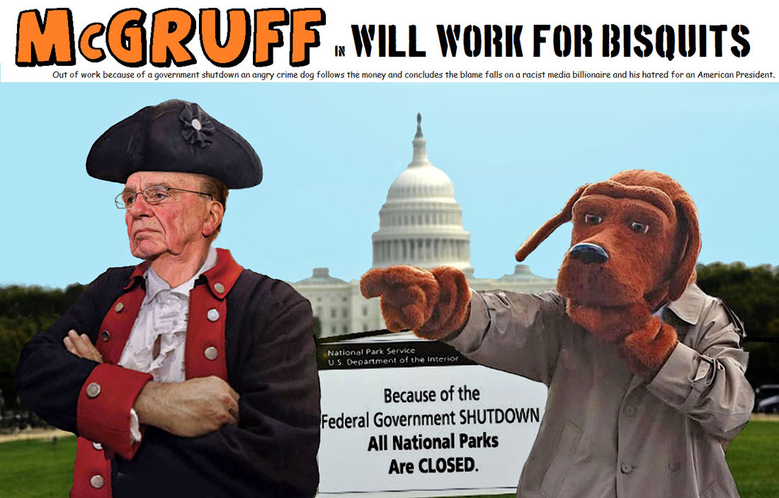 McGRUFF in WILL WORK FOR BISQUITS features one angry crime dog.