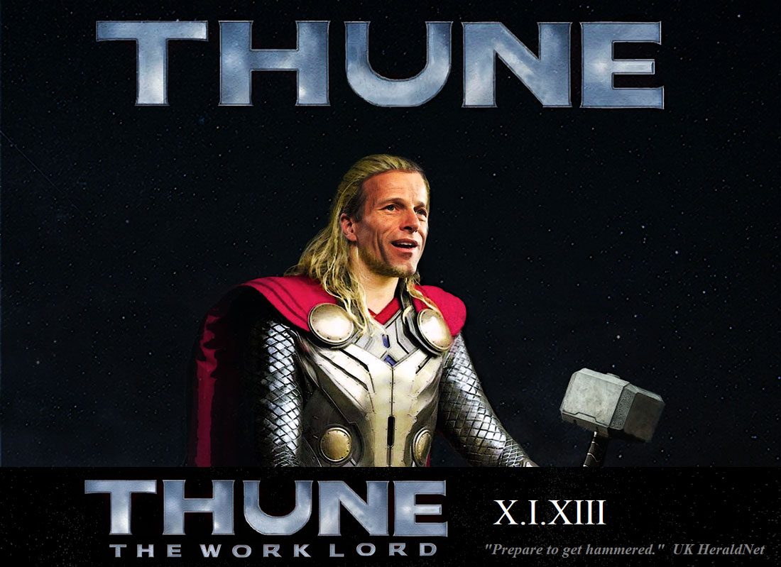 THUNE THE WORK LORD stars John Thune as a corporate paid union smashing extraterrestial.