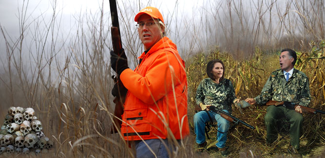 Santorum promises to attack Iran and hunt down Mexicans.