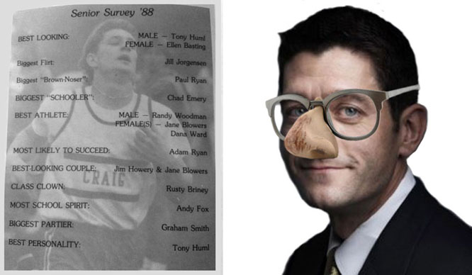 Paul Ryan was named biggest brown-noser by classmates.